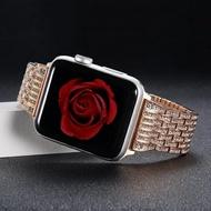 錶帶 索柯 錶帶適用于蘋果Apple watch1/2/3代不銹鋼手錶帶女iwatch3配件38mm42運動帶鑽