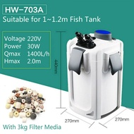 Ready StockSUNSUN HW-703A Canister Filter & Surface Skimmer For fish tank 1~1.2m