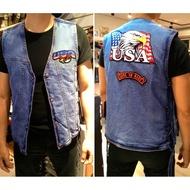 【嘉晟偉士】USA男款牛仔背心 馬甲背心 丹寧布 棉質 外套 夾克 哈雷美式重機騎士背心 水藍 M(6051001)
