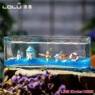 水族箱玻璃魚缸小型創意桌面生態金魚缸水培長方形迷你辦公桌造景水族箱