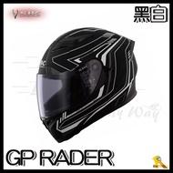 ~任我行騎士部品~ SBK GP RADER 消光黑白 內藏墨鏡 通風 雙D扣 押尾 全罩 安全帽 速百克