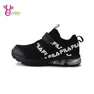 FILA童鞋 男女童運動鞋 足弓升級 避震氣墊鞋 跑步鞋 慢跑鞋 魔鬼氈 女鞋可穿 Q7648#黑色◆OSOME