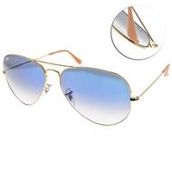 【RayBan 雷朋】經典方框飛官款 太陽眼鏡(金-漸層藍#RB3025 0013F-62mm)