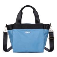 CABACI 素色防潑水多隔層手提斜背二用包-天藍色