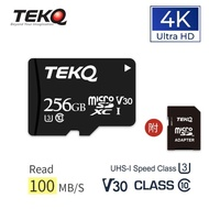 【TEKQ】256GB MicroSDXC memory Card microSD UHS-I U3 V30 A1 高速記憶卡 附轉卡(256GB)