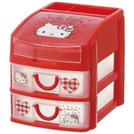 Hello Kitty KT塑膠二抽收納盒4973307390401日本進口