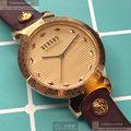 VERSUS VERSACE手錶,編號VV00298,36mm玫瑰金圓形精鋼錶殼,香檳紅簡約, 波浪錶面,玫瑰金色精鋼錶帶款
