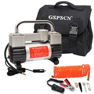 GSPSCN Silver Tire Inflator Heavy Duty Double Cylinders with Portable Bag, Metal 12V Air Compressor Pump 150PSI with Adapter for Car, Truck, SUV Tires, Dinghy, Air Bed etc