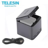 TELESIN 第三代 收納式 三充電池充電盒 for GoPro 7 6 5 (含充電線)