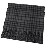 COACH 馬車LOGO喀什米爾羊毛流蘇格紋圍巾.深灰