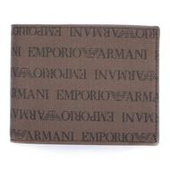 EMPORIO ARMANI經典LOGO繡紋零錢短夾(棕色)【購名牌】