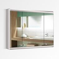 Wall-Mounted Stainless Steel Mirror Cabinet Bathroom Modern Minimalist Bathroom Mirror Cabinet Three-Door Bathroom Mirror Cabinet