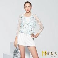 【MON'S】玻璃蕾絲雪紡休閒外套