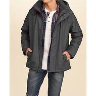海鷗 Hollister 年度熱銷經典防風防潑水連帽風衣外套-深灰色