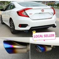 Pipe Bengkok Exhaust Tip Titanium Plug and Play Universal Grilled Blue Honda Civic FC Exhaust Tips Honda Civic FC, Honda Civic X, Honda Civic 2016-2019