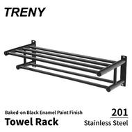 【TRENY】浴室毛巾置衣架 不鏽鋼201 ‧黑‧(毛巾架 置物架)