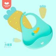 澳樂寶寶吃飯圍兜嬰兒輔食矽膠圍嘴口水防髒神器超軟防水兒童飯兜