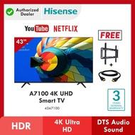Hisense Smart TV 43 Inch 4K UHD Television can Youtube Netflix Anycast Televisyen Free TV Bracket Hdmi 电视机 電視機 43A7100F