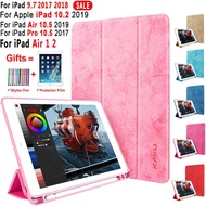 iPad 7th Gen 10.2 inch 2019 6th Gen 5th 9.7 Air 3 2019 Pro 10.5 Magnetic Smart Wake Up Sleep Slim PU Leather【With Pencil Holder】Shockproof Case Cover
