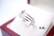 แหวนทองคำขาวคาร์เทียเพชรมีใบรับประกันสินค้าเคลือบทองคำขาวแท้