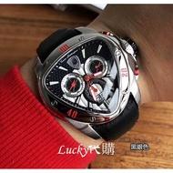 《時秒》原版 公司貨Lamborghini藍寶堅尼男錶 Spyder 3000系列腕錶 三角盾牌石英手錶 男士運動休閒腕