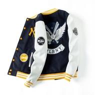 現貨韓國MLB NY棒球服男毛呢夾棉加厚外套撞色拼接修身飛行夾克外套女