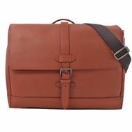 COACH 經典LOGO 皮革手提斜背三用公事包.赤褐色