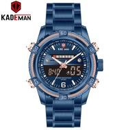 KADEMAN K6173GS 2020 Luxury Men Watch LCD Display Digital Watch TOP Brand 3ATM Stainless Steel