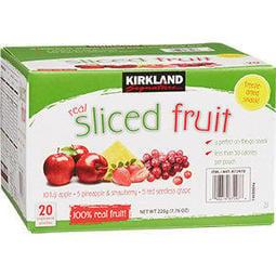 運另+*COSTCO美製【220g】KIRKLAND SIGNATURE REAL SLICED FRUIT 科克蘭 綜合 水果乾*富士蘋果*10包+鳳梨&草莓*5包+葡萄*5包*