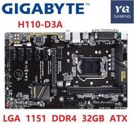 btc เมนบอร์ดไบโอ Gigabyte GA-H110-D3A btc LGA 1151 DDR4 USB3.1 USB2.0 32GB H110-D3A desktop motherboard