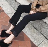 樂天精選-九分褲 正韓微喇褲九分春顯瘦學生黑色褲子高腰薄款打底褲喇叭褲新款
