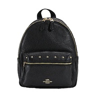COACH 圓形鉚釘荔枝皮革前口袋小型後背包(黑色)