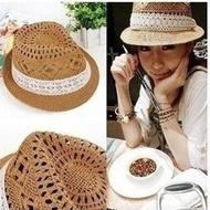 【PS Mall】蕾絲蝴蝶結簍空馬蘭花草帽 爵士帽 夏季女帽 帽子(G1698)