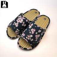 台灣製 透氣舒適室內草蓆拖鞋-櫻花黑25cm