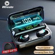 Wiresto henset bluetooth Benar Earbud Nirkabel Mini Bluetooth Earphone Stereo Headphone Bluetooth 5.0 Sport Lubang Suara Kontrol LED Digital Display Touch Control