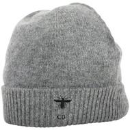 DIOR CD 蜜蜂字母刺繡反折針織羊毛帽(灰色)
