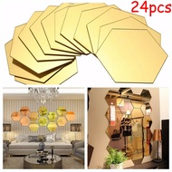 Mirror Stickers Sticker Tiles 24pcs Hexagon Mirror Self-adhesive Decorate