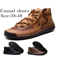 Men Handmade Leather Flat Boot Casual Leather Shoes Big Size 38-48