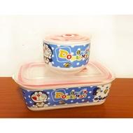 哆啦A夢分隔陶瓷便當盒 保鮮盒 可微波烤箱 贈小碗