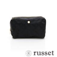 russet 經典系列緹花布化妝包(大) -黑/深藍