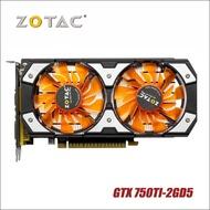 การ์ดจอ zotac ของแท้ใช้แล้ว gtx 750ti-2gd5 gddr5 กราฟิกการ์ดสำหรับ nvidia geforce gtx750 ti 2 gb gtx 750 ti 2g 1050ti hdmi