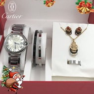 Cartier Ring Stainless Cartier Necklace For Women Pawnable Cartier Bangle Watch For Women Steel Cartier Love Bracelet Stud Earrings Cartier Cartier Watch For Women Automatic Quartz Love Necklace Set 5 In 1 Watch + Bracelet + Ring + Earring + Necklace