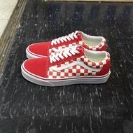 VANS Old Skool Primary Check 棋盤格 紅色 紅白 紅格子 帆布 麂皮 基本款 板鞋