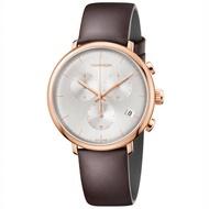 【Calvin Klein】CK HighNoon 巔峰系列三眼計時腕錶-K8M276G6(玫瑰金/43mm)