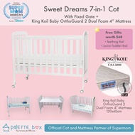 Palette Box Sweet Dreams 7-in-1 Convertible Baby Cot + King Koil Baby Orthoguard 2 Mattress (ETA 20 July)
