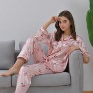 2 Piece Set Women Robe Sets Silk Sleepwear Ladies Night Wear Nightwear Sets Silk Pajama Nighty For