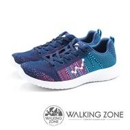 WALKING ZONE 天痕戶外W系列 飛線編織慢跑休閒 女鞋 - 深藍 (另有黑桃)