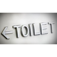 TOILET箭頭廁所方向指示牌-銀色化妝室洗手間箭頭標示牌 男女廁所標示電鍍ABS 洗手間標示牌 廁所箭頭標示牌