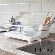 Life Plus 純白風尚 不鏽鋼碗盤餐具收納瀝水架_附排水導管 (單層-2入組)