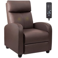 Devoko Recliner Chair Massage Home Theater Seating PU Leather Modern Living Room Chair Padded Cushion Reclining Sofa (Brown)